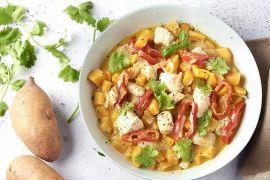 Foto van Panang curry met kip en zoete aardappel