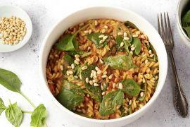 Foto van Eénpotspasta met paprika, spinazie en mascarpone