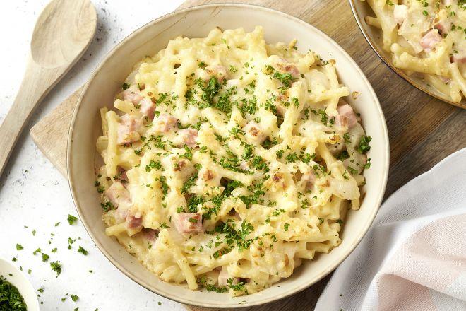 Macaroni met kaas, ham en witloof