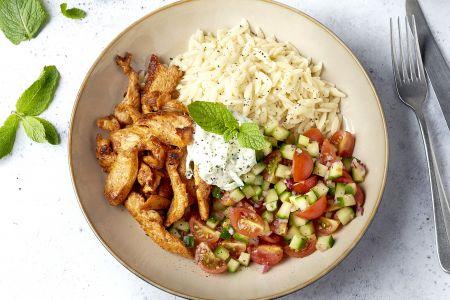 Griekse bowl met shoarma en tzatziki