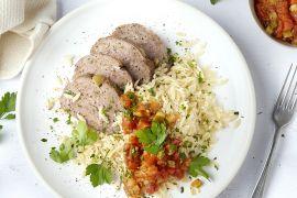 Foto van Zuiders gehaktbroodje met Provencaalse saus en orzo
