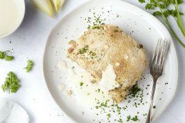 Foto van Gegratineerde witloofstoemp met spekblokjes en kaassaus