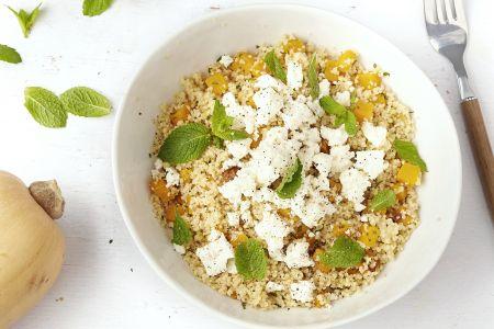 Salade met geroosterde pompoen, feta en couscous