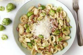 Foto van Orecchiette met gebakken spruitjes en krokant spek
