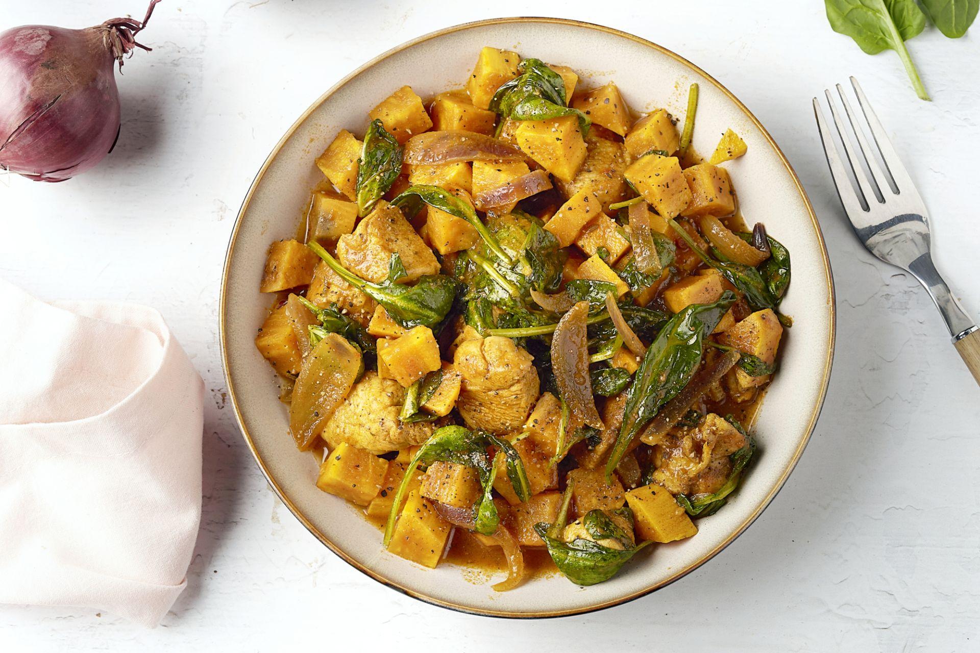 Kip masala met zoete aardappelen