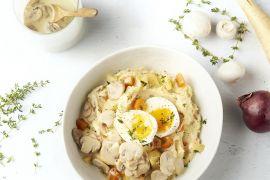 Foto van Herfststoemp met champignonsaus en zacht gekookt eitje
