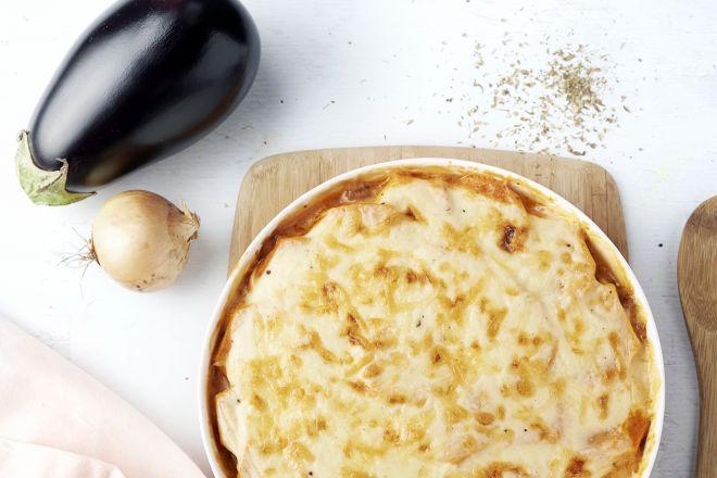 Moussaka met kip en zoete aardappel
