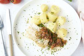Foto van Kabeljauw met tomaat-kappertjessaus