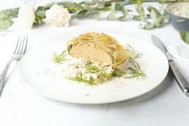 Foto van Zalm in filodeeg met spinazie en kruidenrisotto