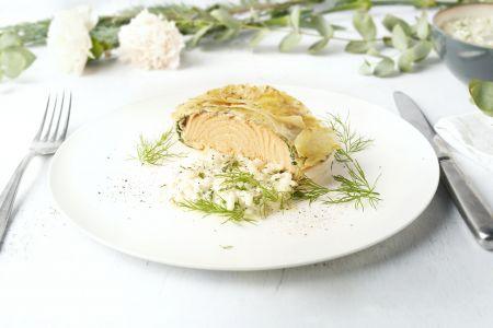 Zalm in filodeeg met spinazie en kruidenrisotto
