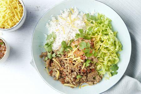 Taco bowls met gehakt en rijst