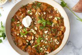 Foto van Curry stoofpotje van aubergine en zoete aardappel