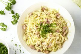 Foto van Spaghetti spitskool carbonara