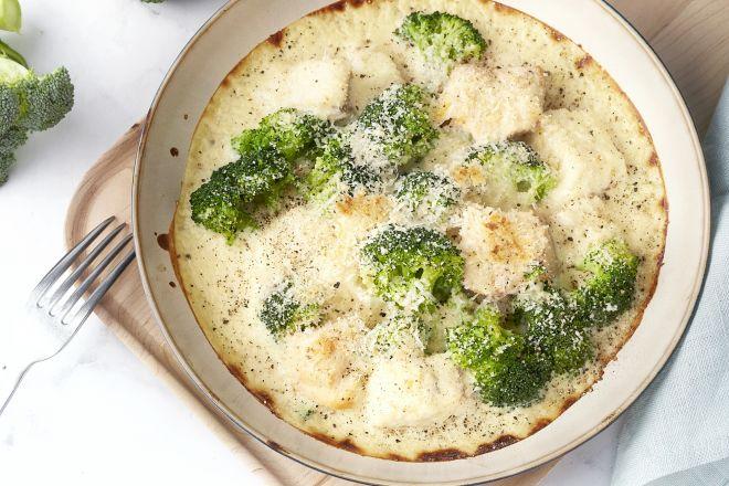 Gratin met vis en broccoli