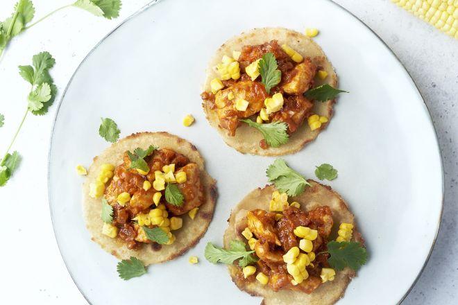 Bloemkool taco's met kip en maïs