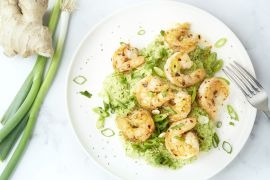 Foto van Pittige scampi's met broccolipuree