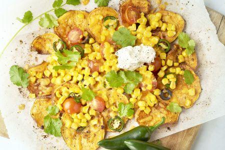 Zoete aardappel nachos
