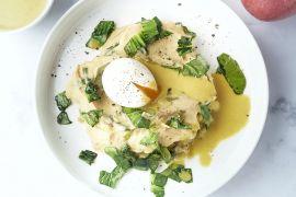 Foto van Paksoistoemp met currysaus en zacht gekookt eitje
