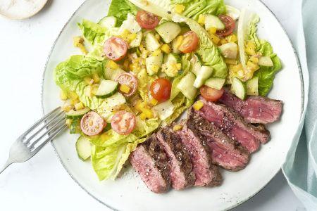 Gegrilde steak salade met sjalot vinaigrette