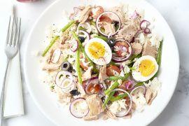 Foto van Rijstsalade met tonijn, ei en sperzieboontjes