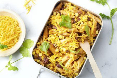 Eénpotspasta met chili sin carne-saus
