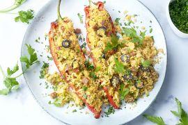 Foto van Gevulde puntpaprika's met couscous en chorizo