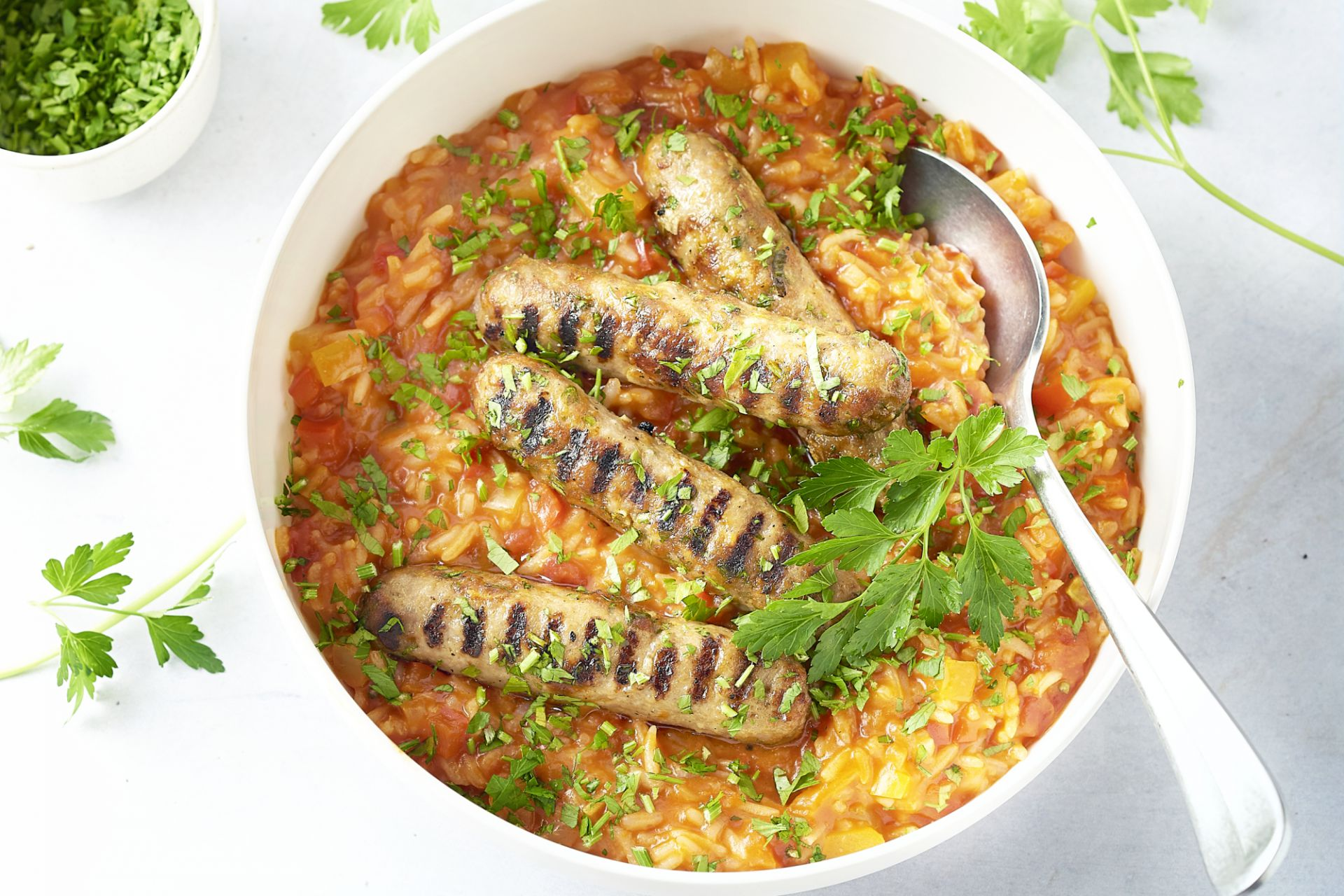 Cevapcici met paprika-tomatenrijst