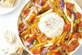 Foto van Geroosterde groenten met gebakken ricotta en peterseliedressing