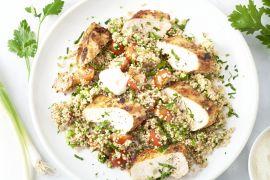Foto van Paprika-harissakip met tabouleh van quinoa