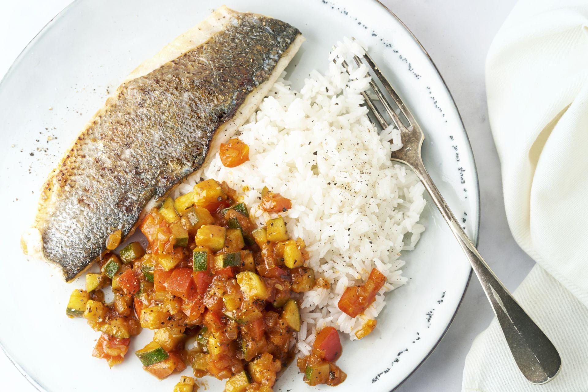 Zeebaars met ratatouille en rijst
