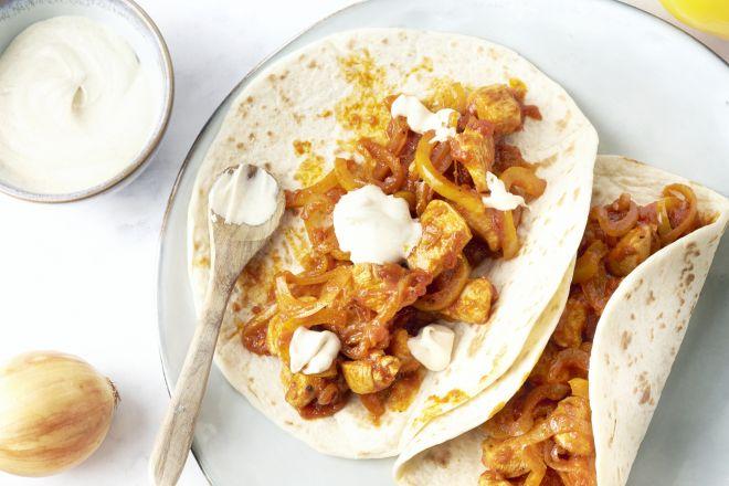 Snelle fajita's met kip en paprika