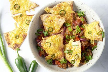 Nachos met snelle chili con carne