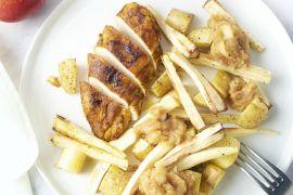 Foto van Kip uit de oven met pastinaak, aardappelen en appelmoes