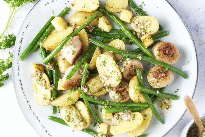 Krieltjessalade met boontjes, appel en witte pens