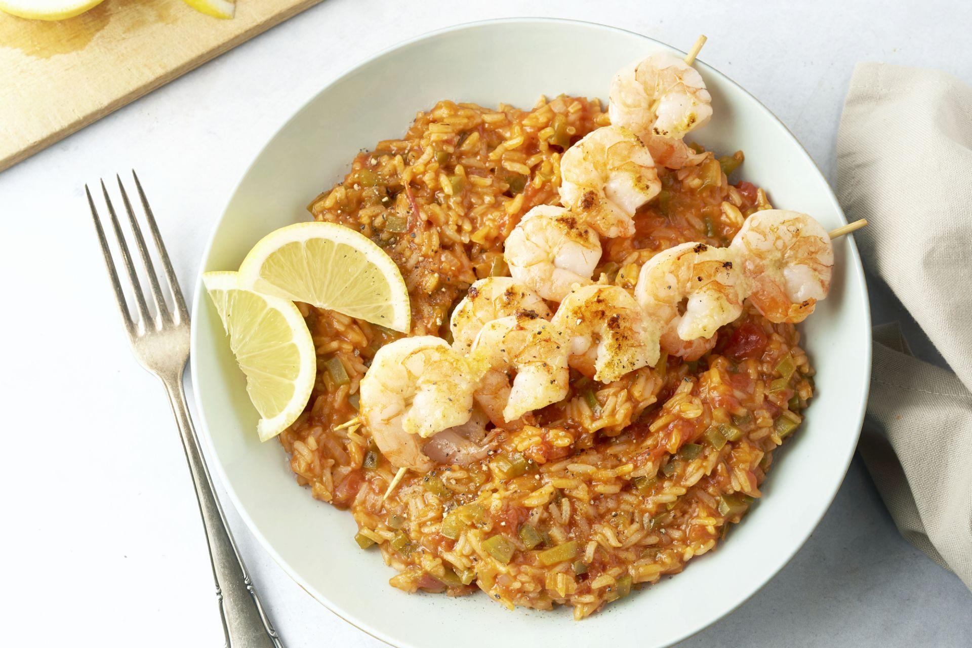 Scampi brochette met Spaanse rijst