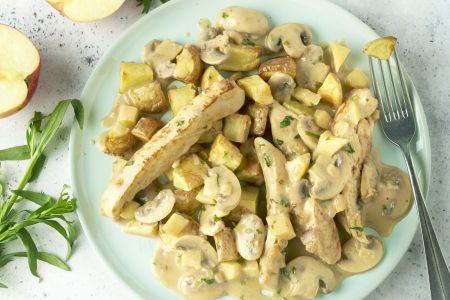 Normandische kip met geroosterde aardappelen