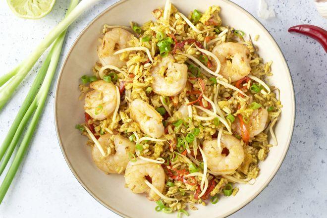 Gebakken rijst met scampi's