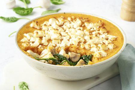 Parmentier met champignons, spinazie, feta en zoete aardappel