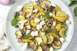Foto van Bulgur met geroosterde groenten en geitenkaas