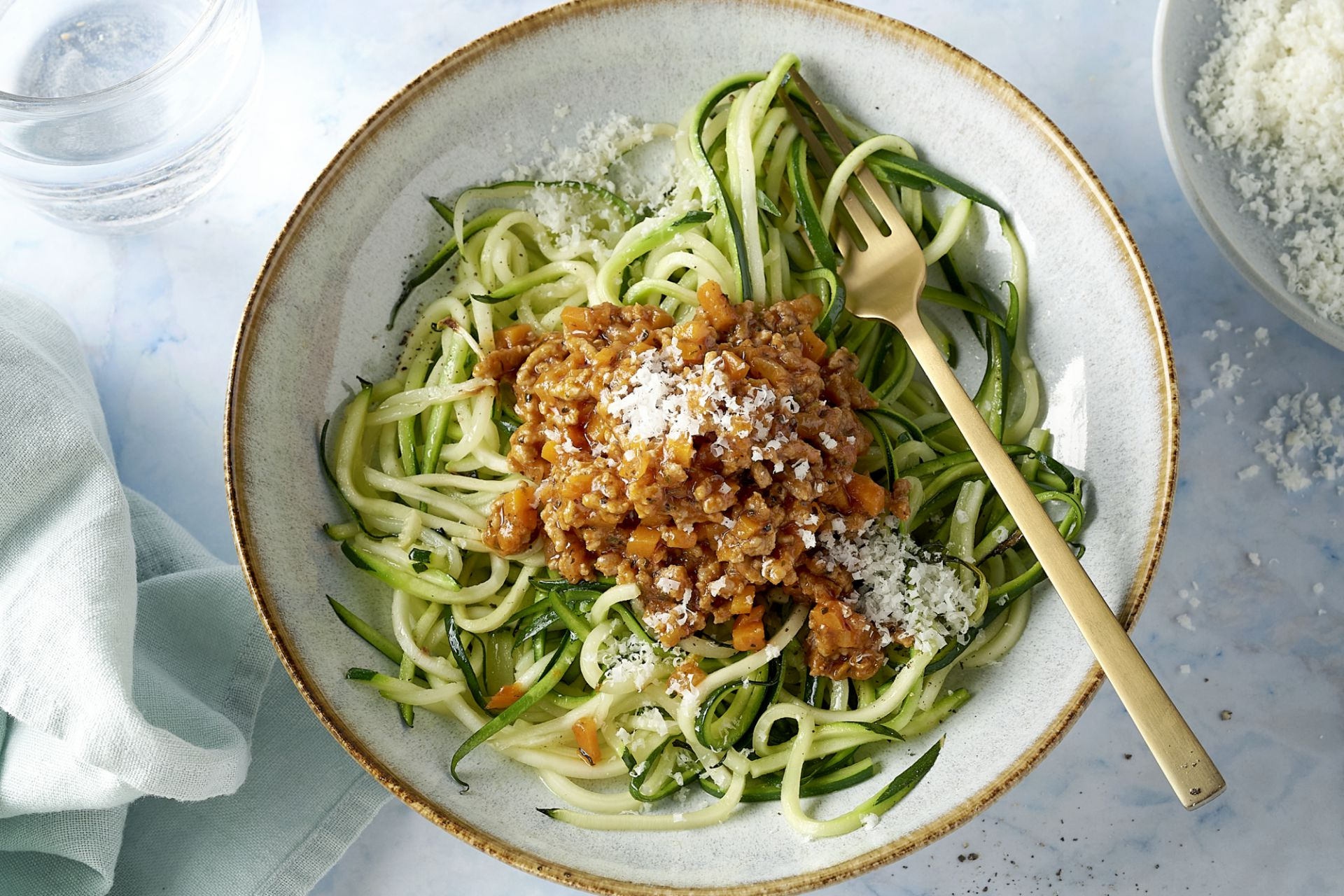 Courgettespaghetti bolognaise met kalfsgehakt