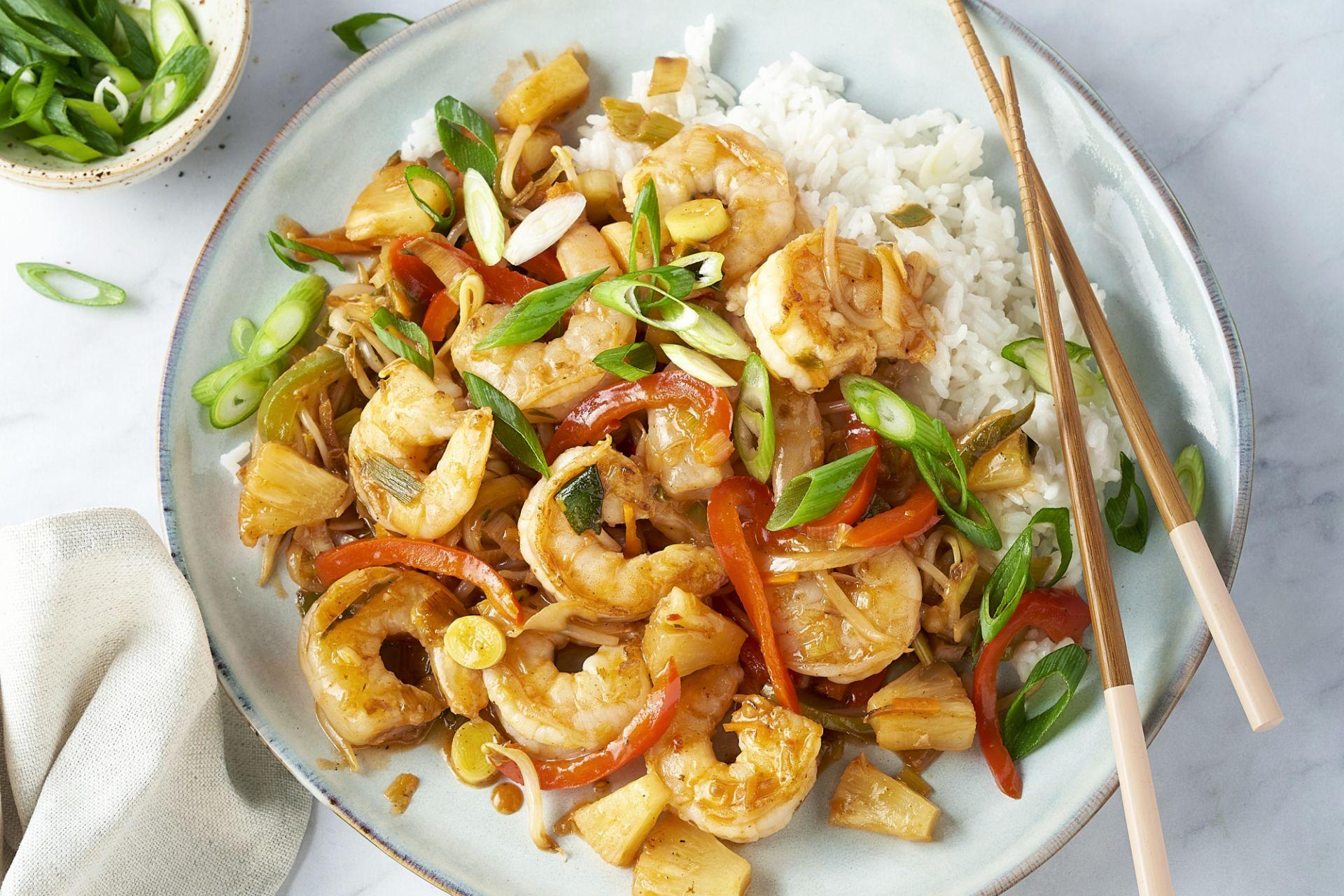 Scampi in zoet-zure saus met rijst