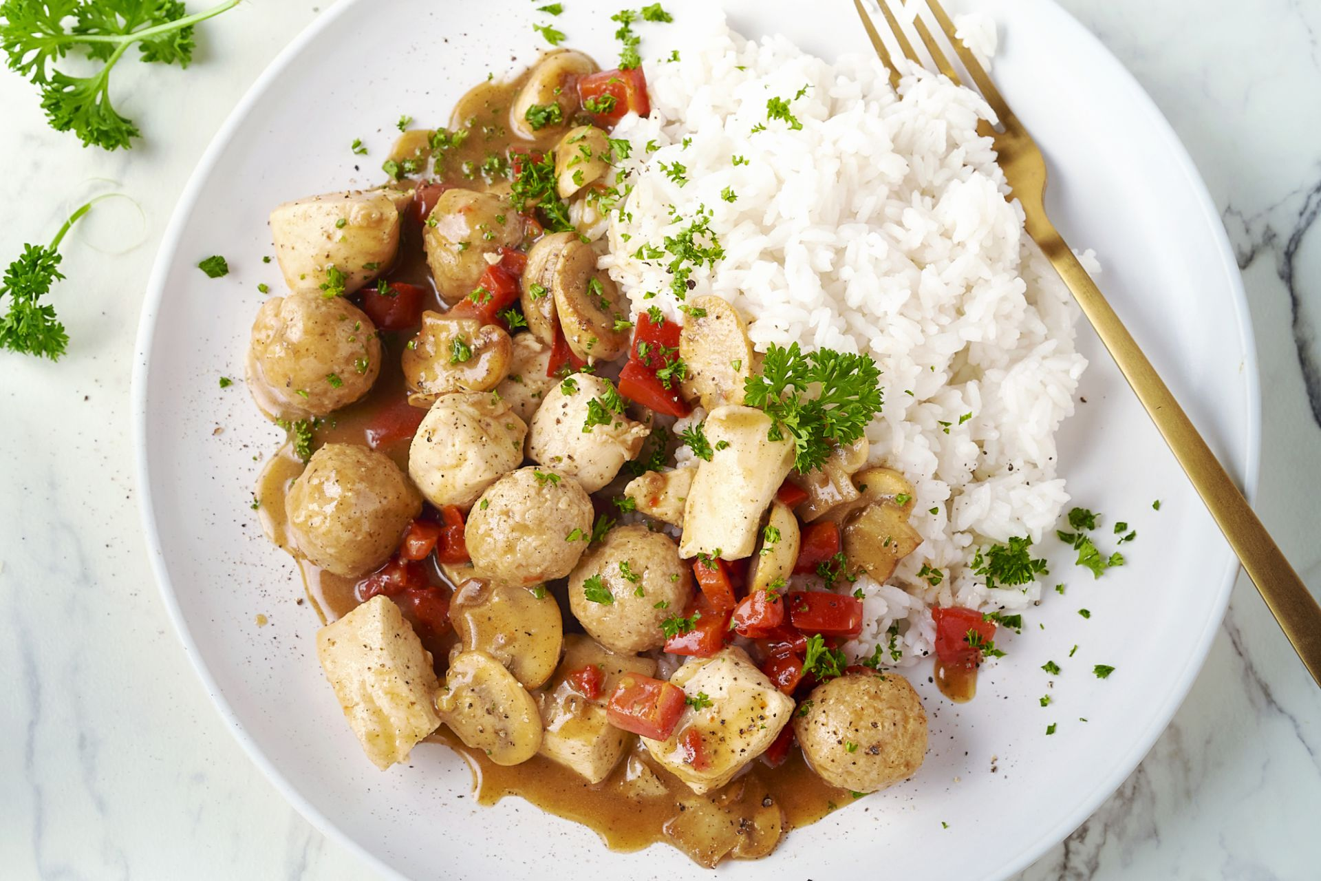 Vol-au-vent met paprika en rijst