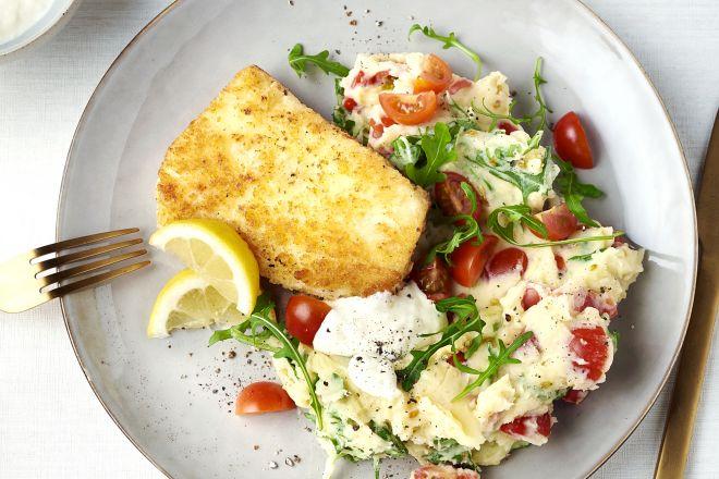 Krokante visfilet met zomerse puree en citroenmayonaise