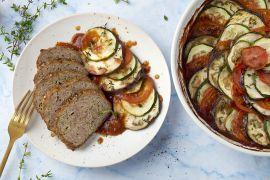 Foto van Provençaals gehaktbrood met tian van courgette en aubergine