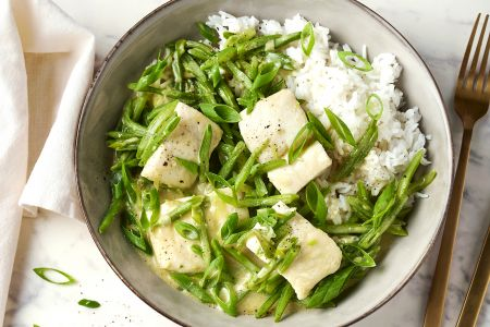 Groene curry met vis en snijbonen