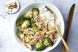 Foto van Kip en broccoli in een honing-citroen-sojamarinade met rijst