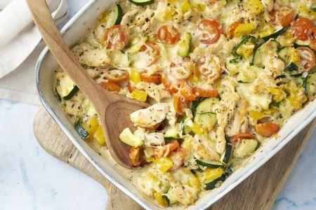 Romige ovenschotel met kip en véél groentjes