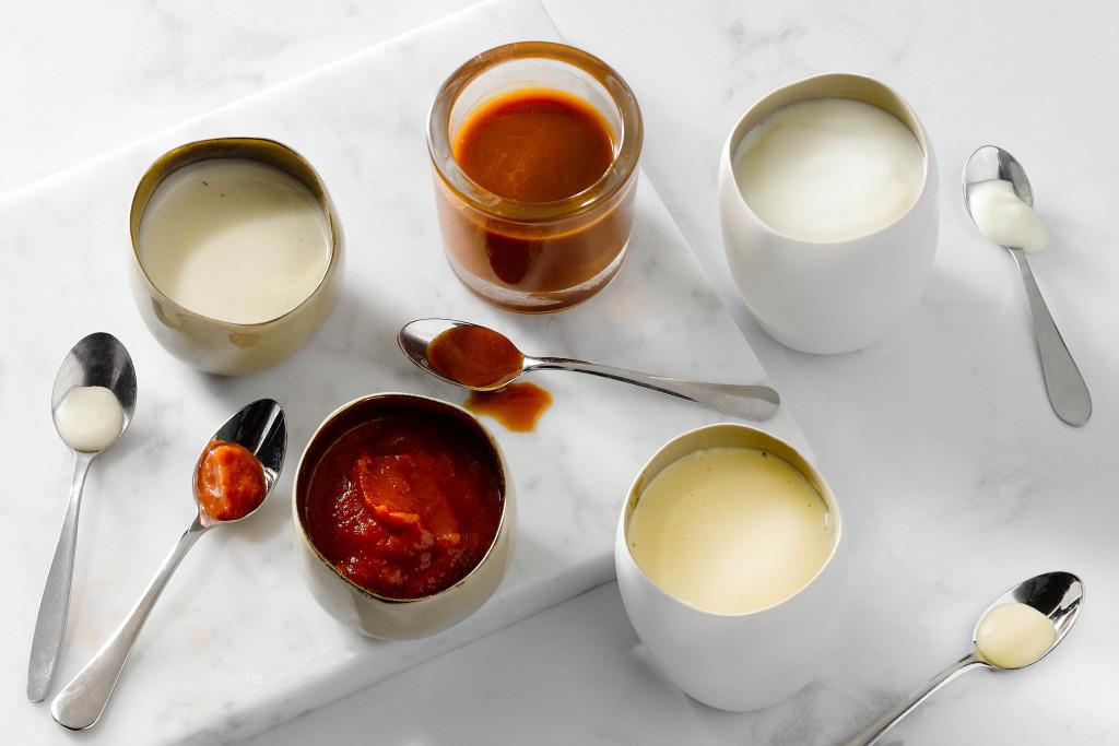 moedersauzen: velouté, espanole, béchamel, hollandaise en tomatensaus
