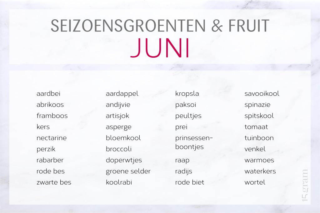 seizoensgroenten en -fruit juni