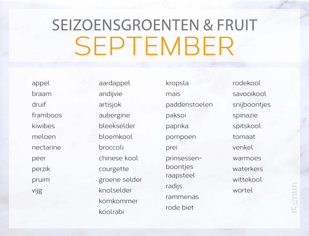 Seizoensgroenten en -fruit in september